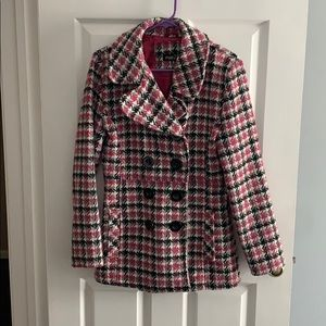 Pink and black peacoat